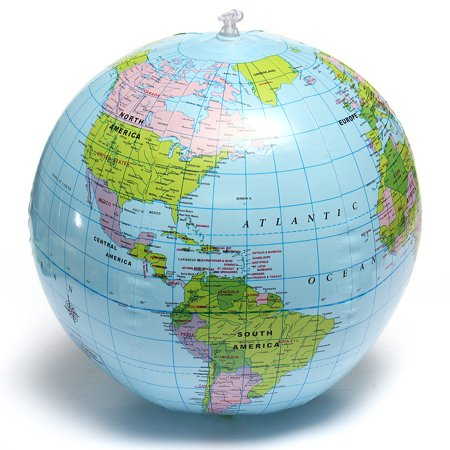 15inch Inflatable Countries Cities Earth World Globe Map Beach Ball Students Education Geography Kids Soft Toy (Man City Inflatable Bananas)