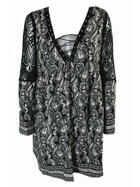 e72041593 Product Image Trixxi Juniors Black White Printed Crochet-Trim Shift Dress XL