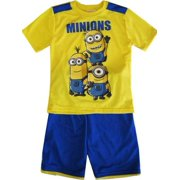 Boys Yellow Short Sleeve 2 Pcs Basketball Shorts Set 8-12