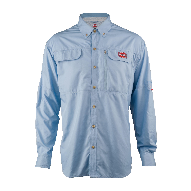 Penn Vented Performance Long Sleeve Shirts Blue, X-Large