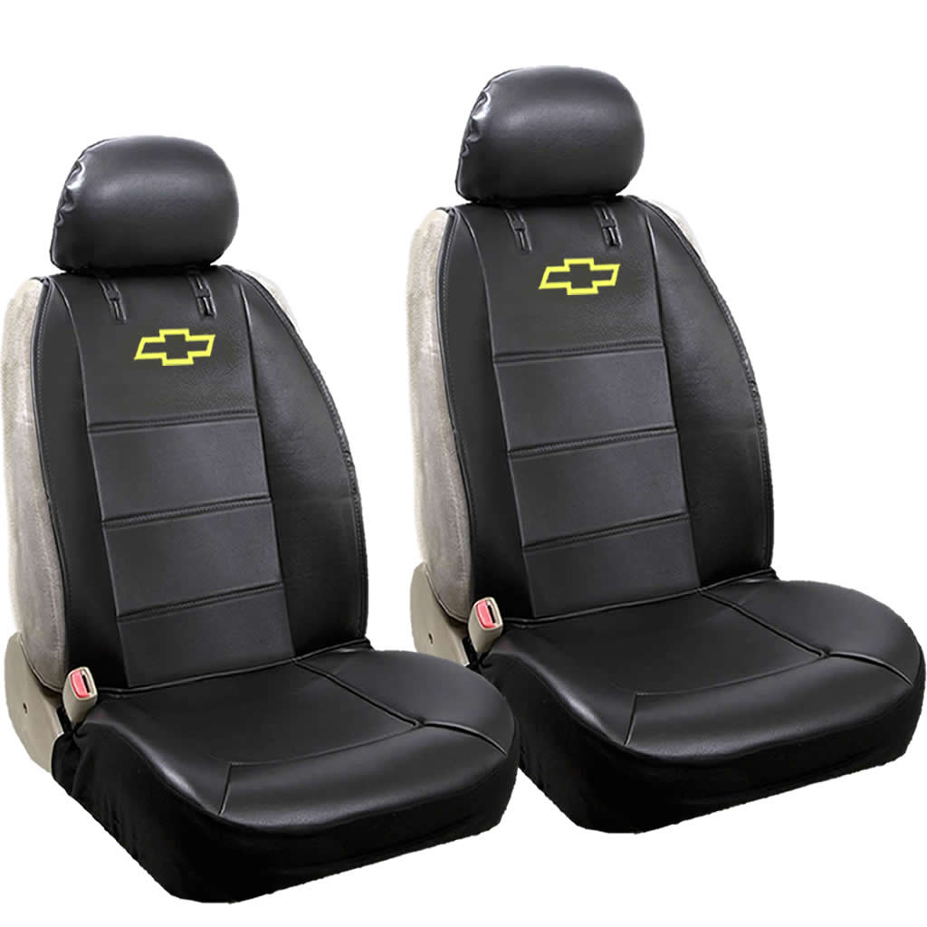 Official Licensed 2 Piece Synthetic Leather Sideless Seat Covers 2 Headrest Cover Car Truck SUV for Chevy