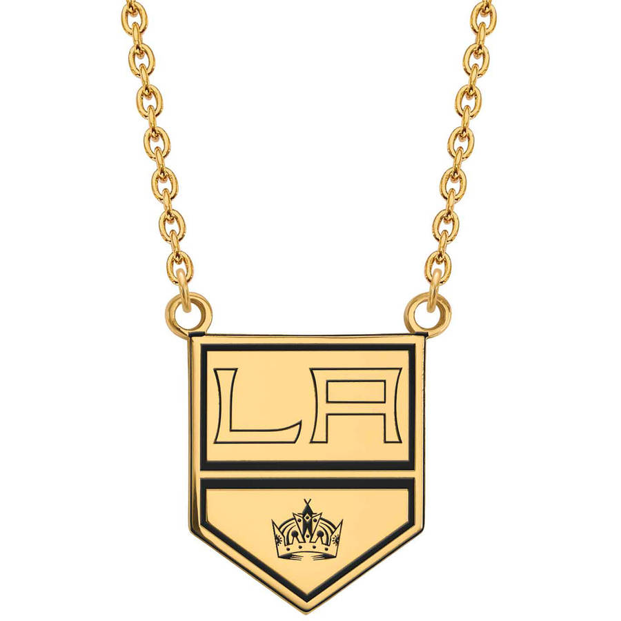 LogoArt NHL Los Angeles Kings 14kt Gold-Plated Sterling Silver Large Enameled Pendant with Necklace