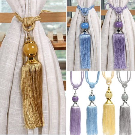 Fashion 1 Pair Windows Curtain Rope Holdbacks Rope Tassel Curtain Tiebacks Beaded Ball Home Bedroom Decoration](Tassels For Sale)