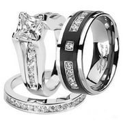 Best Wedding Rings - Hers And His Stainless Steel Princess Wedding Ring Review
