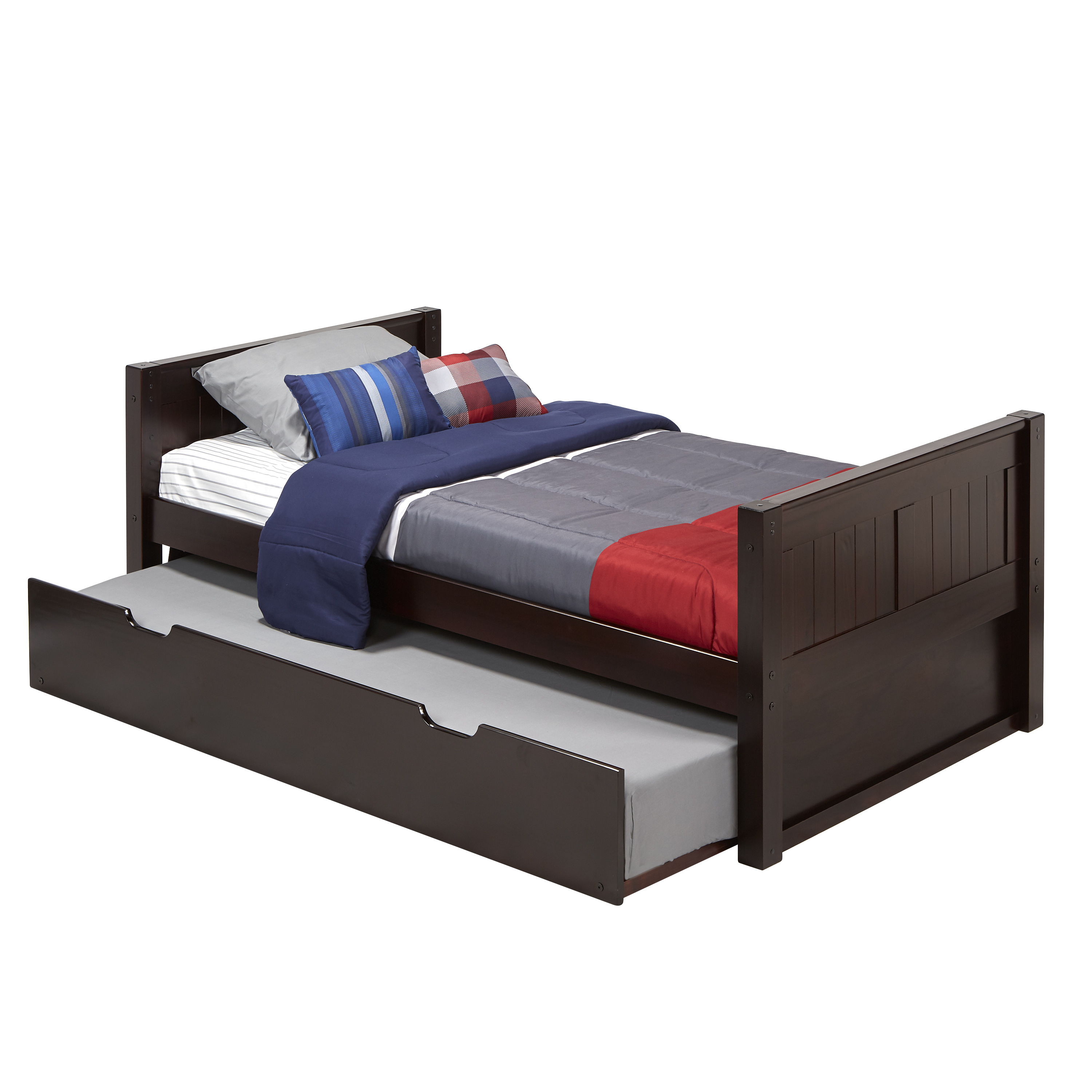 Camaflexi Twin Size Platform Bed with Twin Trundle - Panel Headboard - Cappuccino Finish