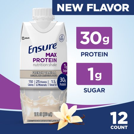 Ensure Max Protein Nutritional Shake with 30g of High-Quality Protein, 1g of Sugar, High Protein Shake, French Vanilla, 11 fl oz, 12