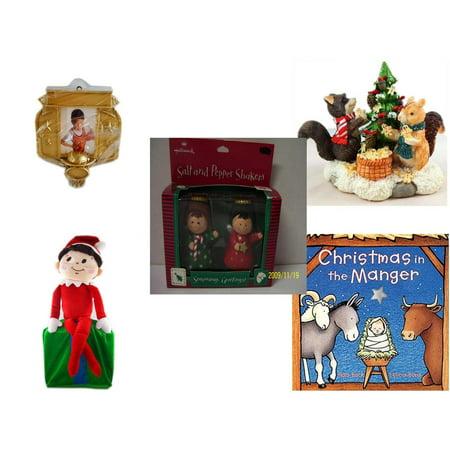 Christmas Fun Gift Bundle [5 Piece] - Hallmark Basketball Photo Frame Ornament - Forest Friends Gingerbread Tree Resin Figurine - Hallmark Seasons Greetings Salt and Pepper Shaker Set - Elf On (Gingerbread Man Photo Frame Ornaments)