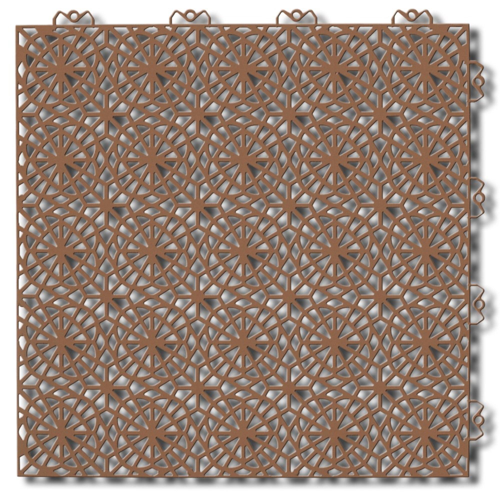 Mats Inc. Bergo XL Floor Tiles, Center, Cedar Wood, 2.46' x 8.61', 14 Pack