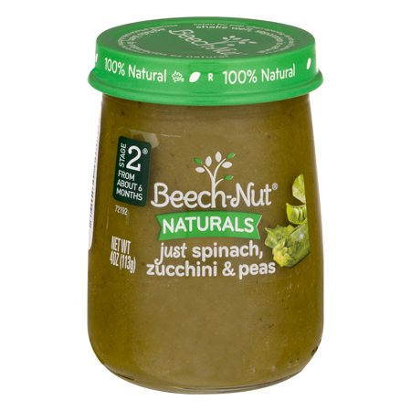 (10 Pack) Beech-Nut Naturals Baby Food Just Spinach, Zucchini & Peas Stage 2, 4.0 OZ - Sweet Pea Popeyes Baby
