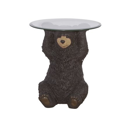 Powell  Barney Bear Cabin Resin, Glass Accent Side Table ()