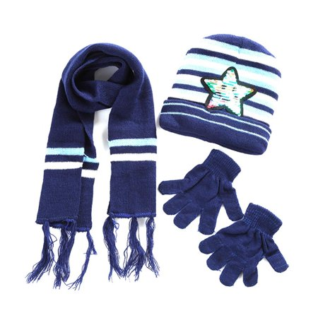 Ymiko 4Colors Paillette Star Winter Warm Hat&Scarf&Glove Set for 6 Months to 4 Years Old Children, Children Gloves, Scarf - Mj Gloves