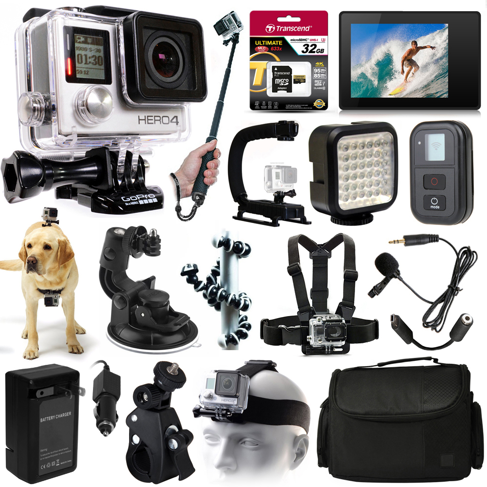 Buy GoPro Hero 4 HERO4 Black Edition CHDHX-401 with 32GB Memory + LCD Display + WiFi Remote + X-Grip + LED Light + Case +... by GoPro
