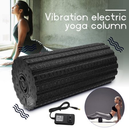 "17"" Rechargeable Electric Vibrating Massage Foam Yoga Roller Column 4 Speed Muscle Recovery Vibrating Foam Deep Recover Vibration for Tissue Intensity Pain Home Gym Room US Plug"