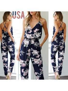 Summer Women Clubwear Playsuit Bodycon Party Jumpsuit Romper Trousers Long Pants