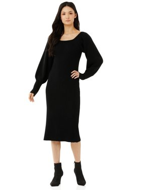 Scoop Women's Square Neck Ribbed Sweater Dress