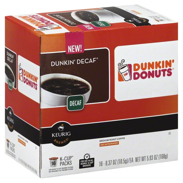 Keurig Hot Dunkin' Donuts Dunkin Decaf Medium Roast K-Cup Pods Decaffeinated Coffee, 0.37 oz, 16 ct
