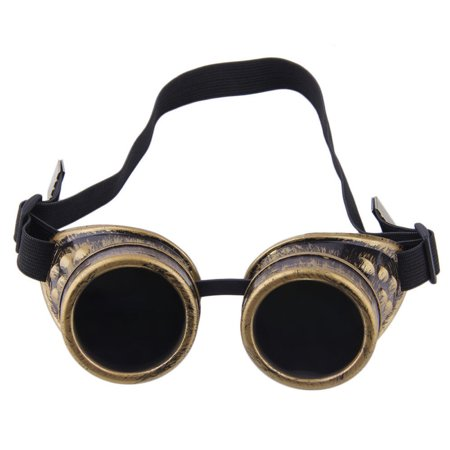 C.F.GOGGLE Steampunk Goggles Welding Gothic Glasses Black Glass Lenses For Men And Women (Steampunk Items For Sale)