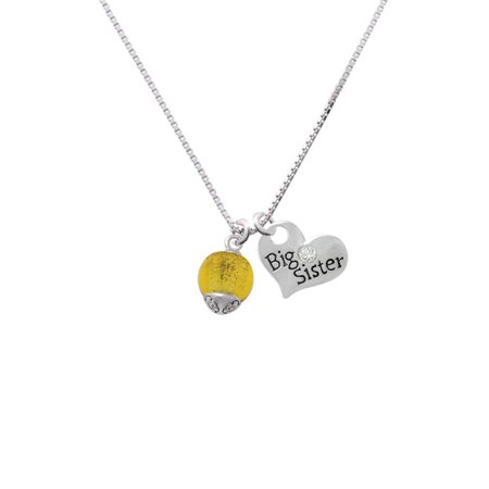 12mm Yellow Roller Spinner with Silvertone Lining Glass Spinner Big Sister Heart Necklace 1 Fan Spinner Necklace