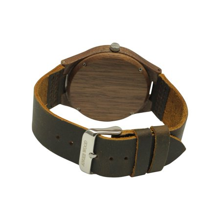 Angie Wood Creations Walnut Men's Watch With Walnut Dial and Leather Strap - image 2 de 7