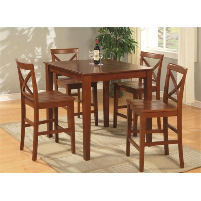 East West Furniture PUBS3-BRN-W 3PC Pub set with 39 in. Square Counter Height Table and 2 Wood seat stools