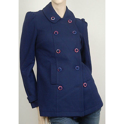 Modern Amusement Holiday Womens Coat Navy Blue Size M ~