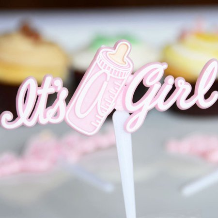 It's A Girl Pink Baby Bottle Cupcake Cake Topper Picks  Set of 12 - Baby Girl Cake Toppers