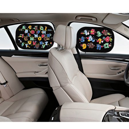 - Cartoon  Car Side Window Sun Shade Visor Protector Static Film (2 Packs) ABC/ 123 Design Block Harmful UV Rays