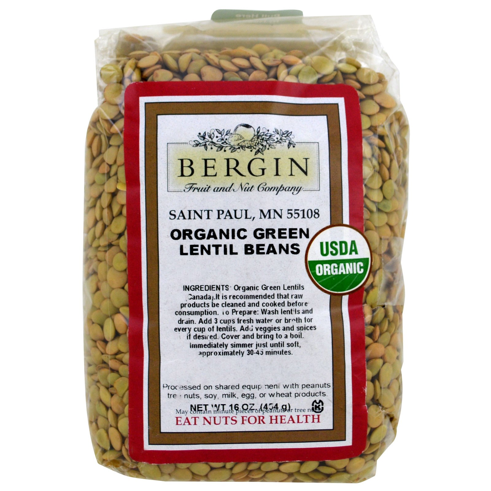 Bergin Fruit and Nut Company, Organic Green Lentil Beans, 16 oz (pack of 12) by