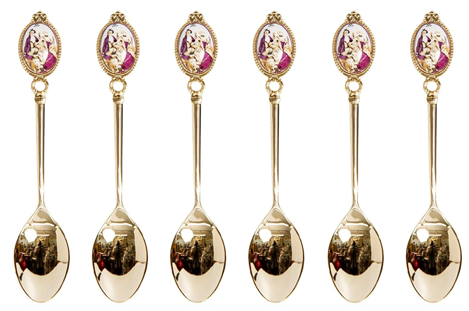 """6/""""L 24K Gold Plated 6-Pc Flatware Set Demi Dessert Spoons with Clear Crystal"""