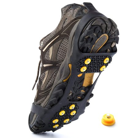 Ice and Snow Traction Cleats Universal Slip-on Stretch fit Snow Ice Spikes Crampons (Large)