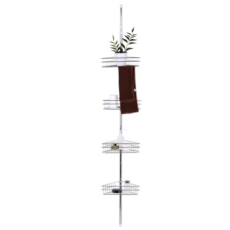 4 Tier Adjule Metal Corner Shower Shelf Caddy Bathroom Extesion Rack Tension Pole Wall Mounted