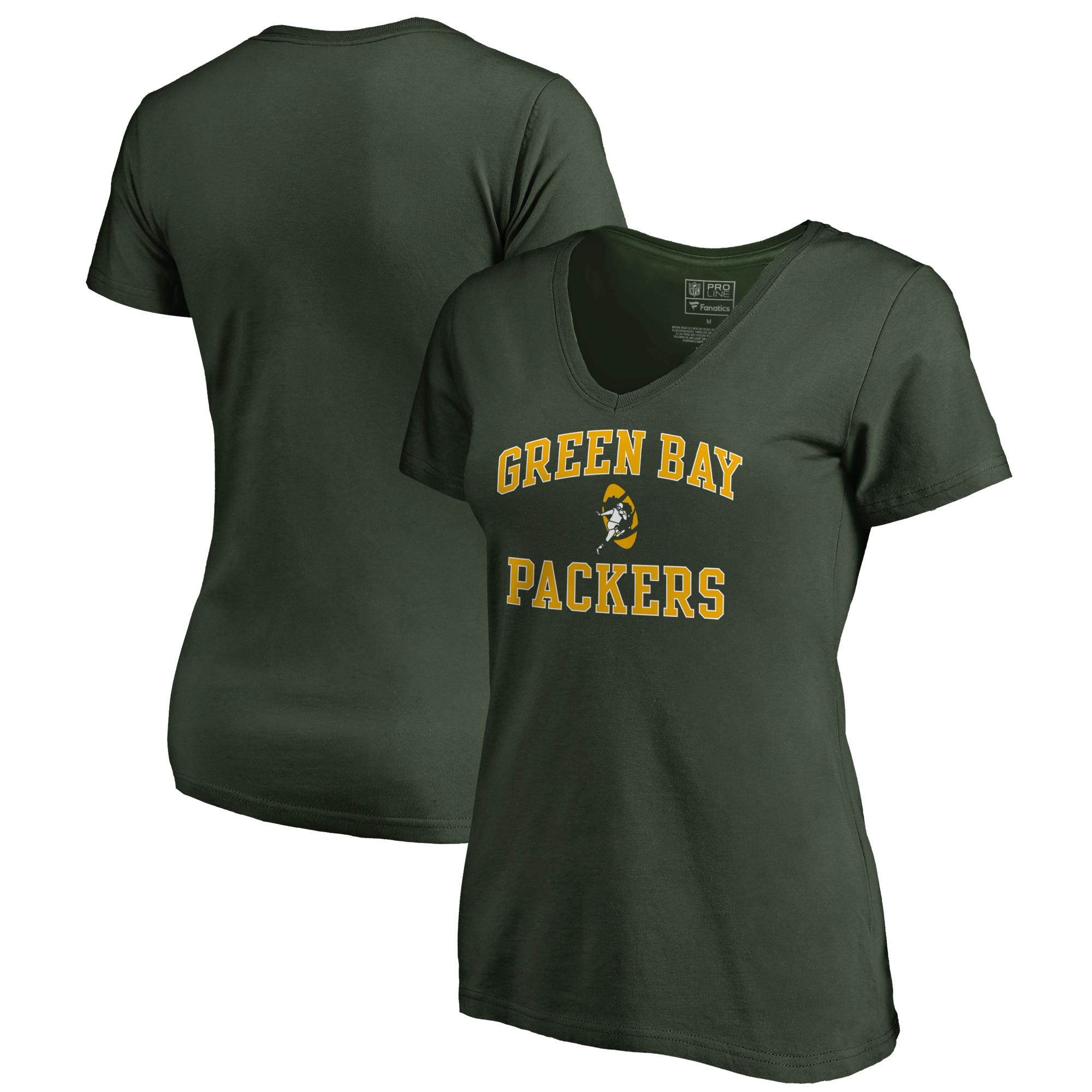 Green Bay Packers NFL Pro Line by Fanatics Branded Women's Vintage Collection Victory Arch V-Neck T-Shirt - Green