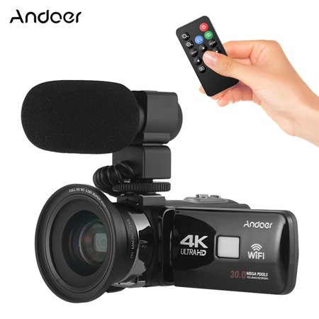 """Andoer 4K Ultra HD WiFi Digital Video Camera Camcorder DV Recorder 16X Zoom 3.0"""" LCD Touchscreen IR Night Vision with Hot Shoe Mount + 0.39X Wide Angle Lens - image 5 of 7"""