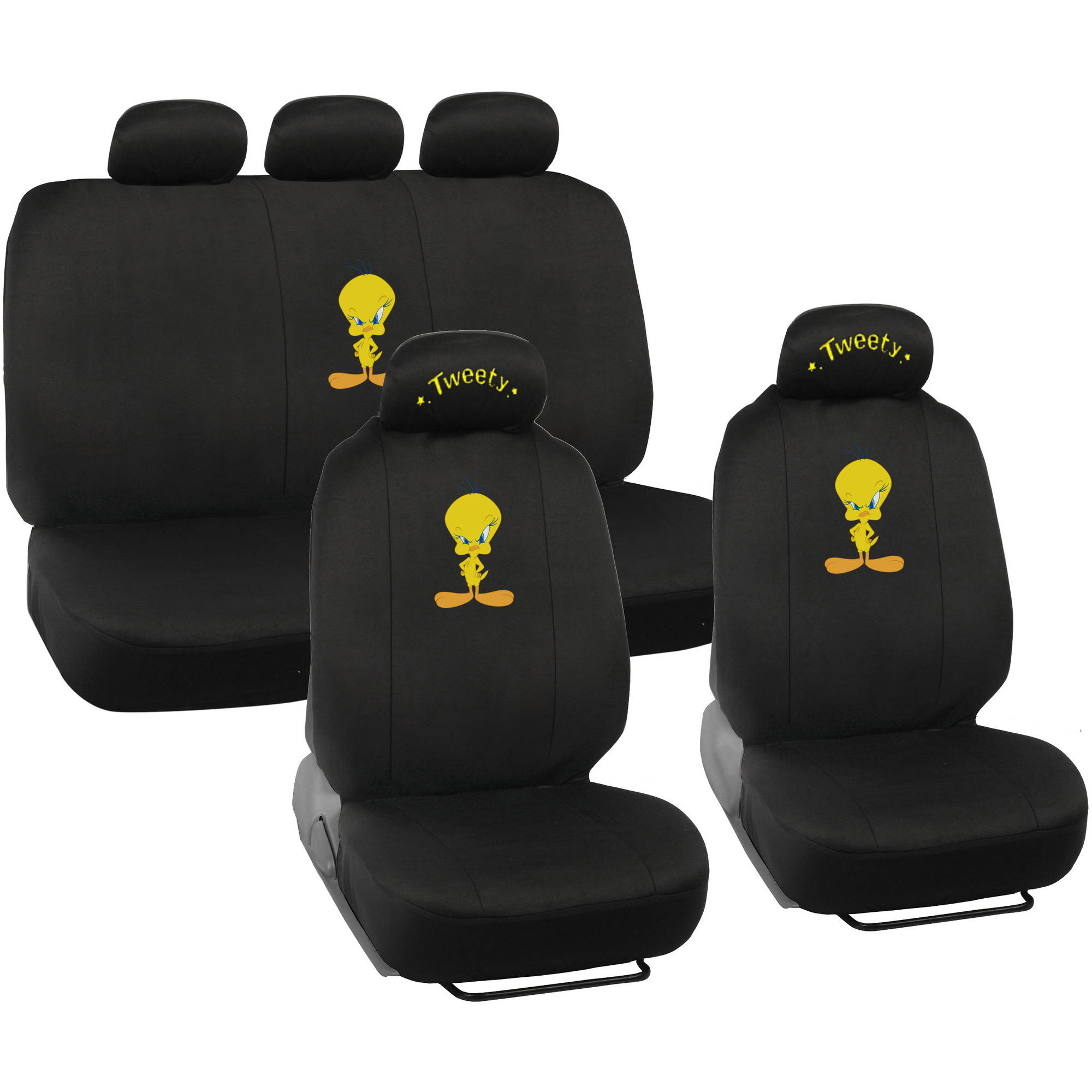 Tweety Bird Seat Covers for Car and SUV, Auto Interior Gift Full Set, Warner Brothers