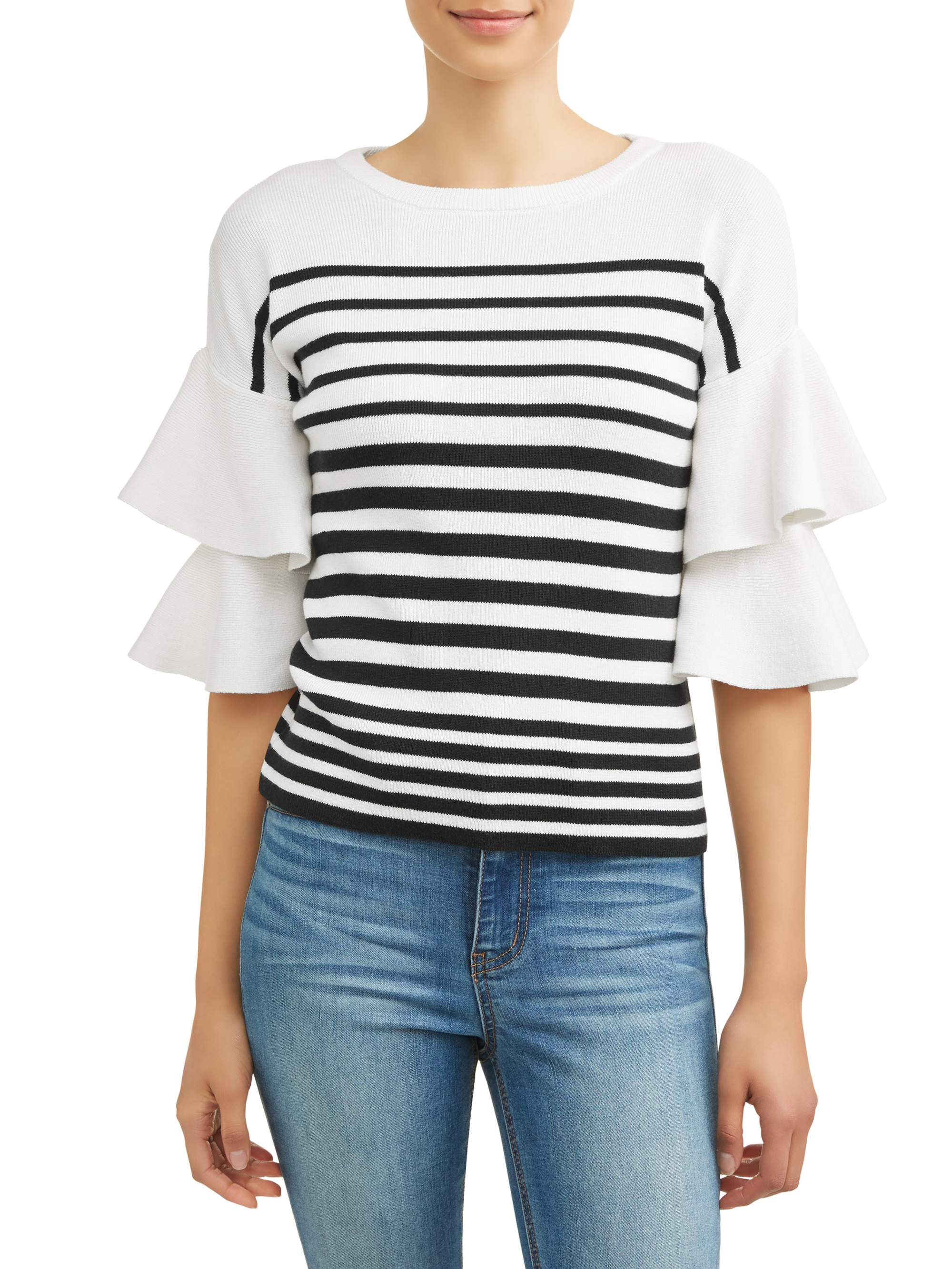 Women's Stripe Layered Sleeve Sweater