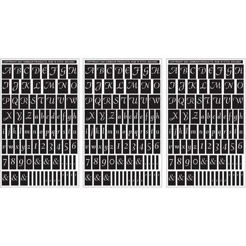 "Armour Products Rub 'N' Etch Designer Stencils 5""x8"", Script Letters & Numbers, 3/pkg"