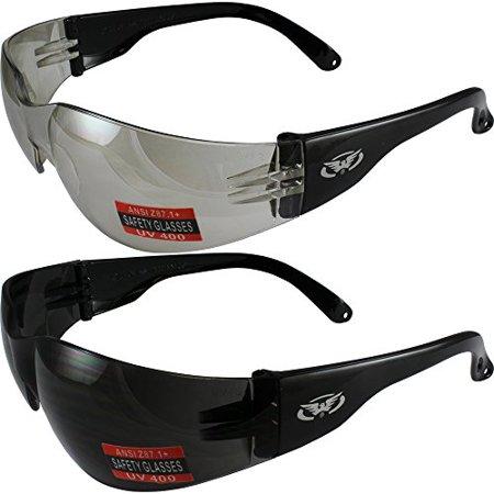 de9cba9f7416f Global Vision - Two Pairs of Global Vision Rider Safety Motorcycle Riding Sunglasses  Black Frames One Pair Clear Mirror Lens and One Pair Super Dark Lens ...