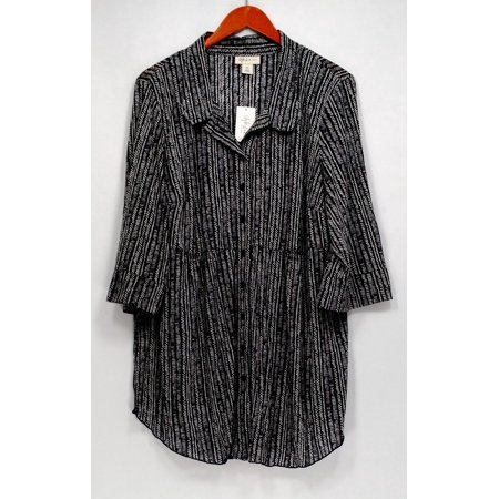 2d8aceb2ac9 Style Co - Style Co Plus Size Top 2X Printed Sheer Button Front Blouse  Black - Walmart.com