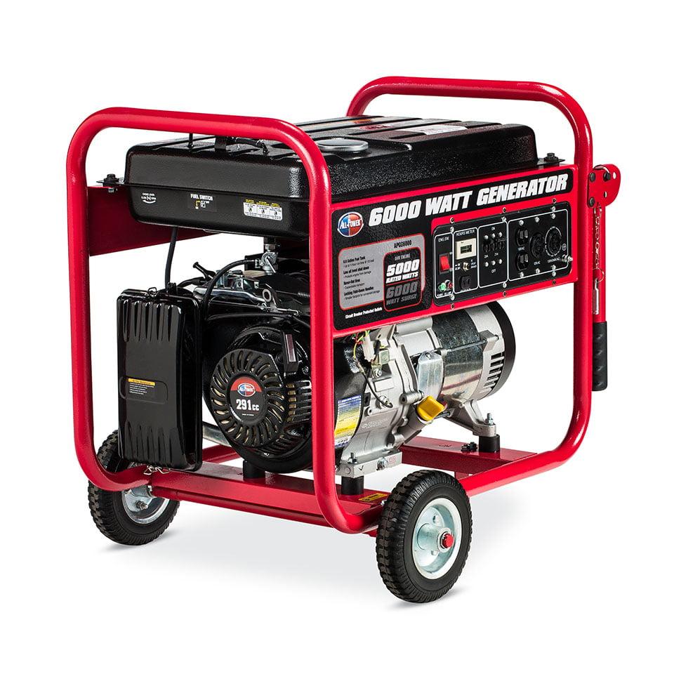 All Power America APGG6000, 6000 Watt Generator, 6000W Gas Portable Generator for Home Use Emergency Power Backup, RV Standby, Storm Hurricane Damage Restoration Power Backup