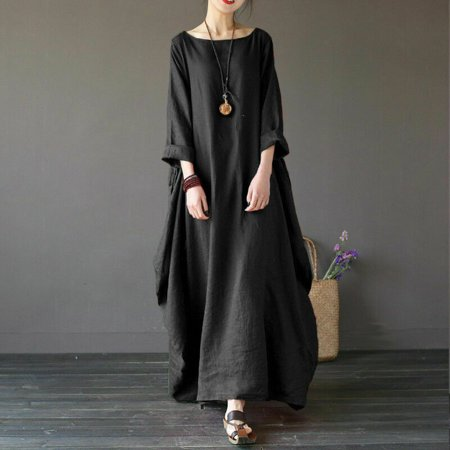 Plus Size WOmen's Casual Loose Long Sleeve Solid Baggy Maxi Gown Long Dress