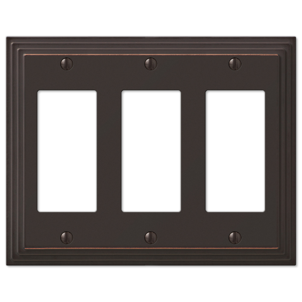 Three Decora Rocker Wall Switch Plate - Oil Rubbed Bronze
