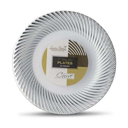 Laura Stein Designer Tableware Premium Heavyweight 7'' Inch White And Silver Rim Plastic Party & Wedding Plates Curve Series Disposable Dishes Pack of 20 Plates 7'' INCH PLATES ()
