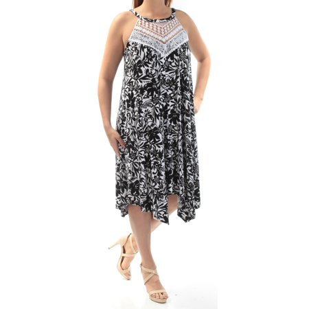 - INC Womens Black Rhinestone Lace Floral Sleeveless Halter Knee Length Trapeze Dress  Size: L