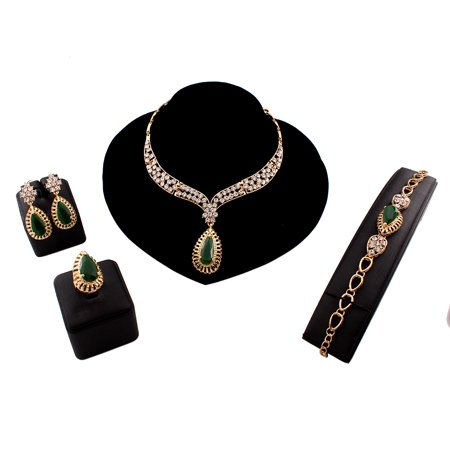 Fancy Natural Emerald Gem Stone Imitated 18K Yellow Gold Filled Plated Large African Vintage Women Necklace Bracelet Earrings Ring Jewelry Sets For Wedding Party - image 1 of 1