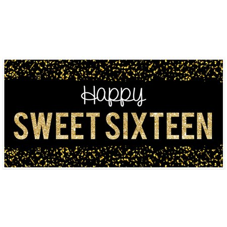 Sweet 16 Banners (Black Confetti Sweet 16 Sixteen Birthday)