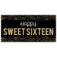 Black Confetti Sweet 16 Sixteen Birthday Banner