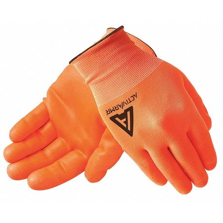 ANSELL Coated Gloves,Nitrile,High-Vis Orange,PR, 97-012
