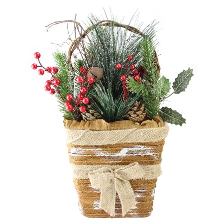 Northlight Frosted Pine Needles and Pine Cones Hanging Christmas Basket ()