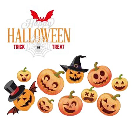 Happy Halloween Pumpkins Spooky Cemetery Witch and Bats Tomb Wall Decals Window Stickers Halloween Decorations for Kids Rooms Nursery Halloween Bar Party (Number 6)