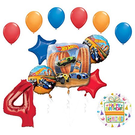 Mayflower Products Hot Wheels Party Supplies 4th Birthday Balloon Bouquet Decorations - Hot Wheel Birthday Party